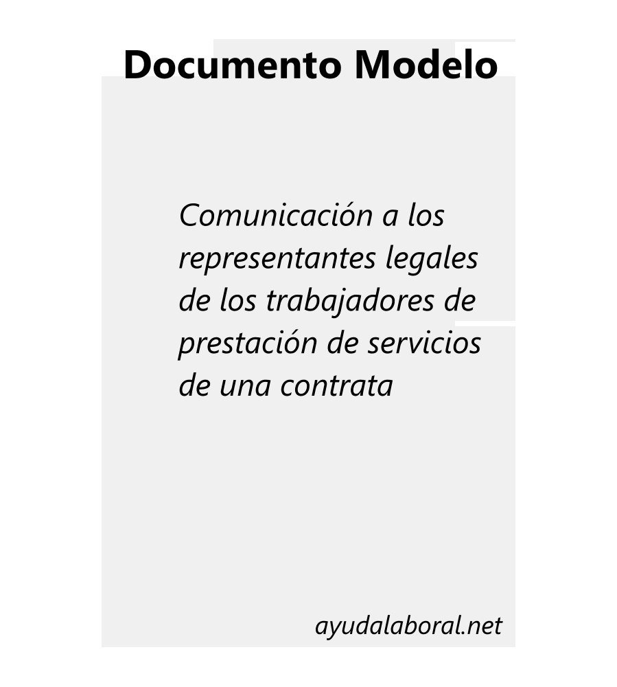 Portada Comunicación a representantes legales de prestación en contrata